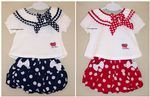 BABY GIRLS BOW TOP BUBBLE SHORTS SET 3 6 9 12
